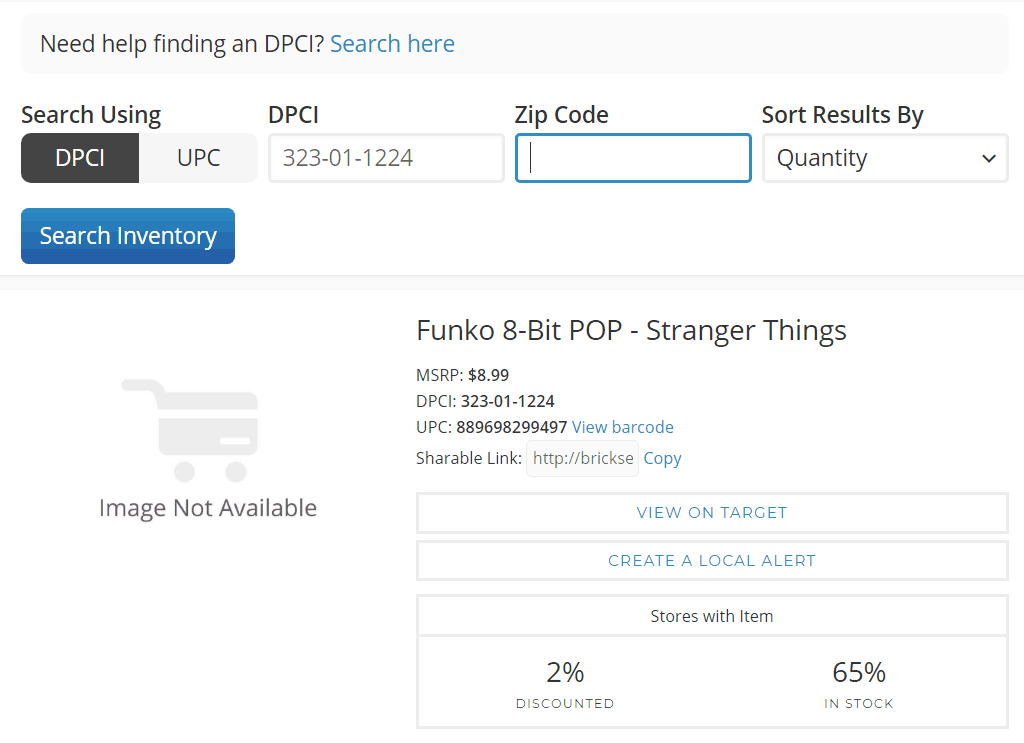Instructions on searching for funko pops on brickseek