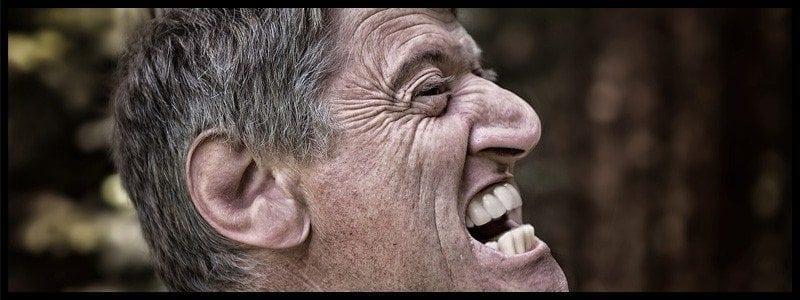 Screaming elderly man