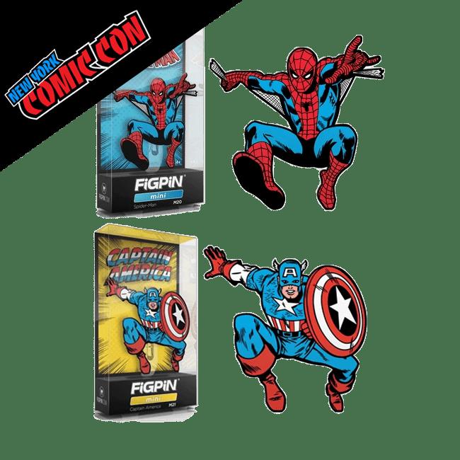 FigPin Mini Spider-Man and Captain America Classic 80th Anniv NYCC 2019
